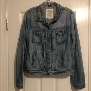 J.Crew Distressed Denim Jacket, Size Medium